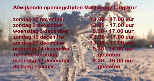 afwijkende openingstijden feestdagen